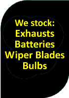 batteries, wipers, exhausts
